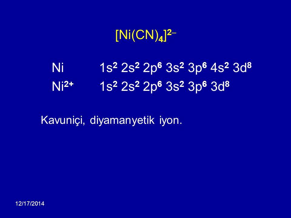 [Ni(CN)4]2– Ni 1s2 2s2 2p6 3s2 3p6 4s2 3d8. Ni2+ 1s2 2s2 2p6 3s2 3p6 3d8. Kavuniçi, diyamanyetik iyon.